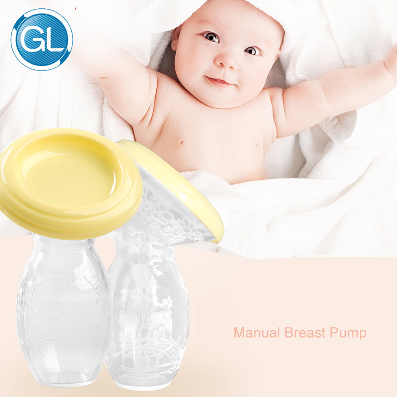 GL Breast Pump Manual Infant Baby Breastfeeding Breast Milk Feeding Collector Safe Silicone BPA free Food-grade Pumps Easy Clean
