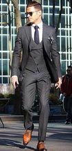2017 Latest Coat Pant Designs Grey Double Breasted Formal Slim Fit Men Suit Skinny 3 Piece Tuxedo Custom Blazer Terno Masculino