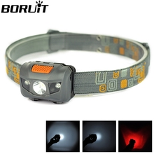 Grey 80M Distance Adjustable 4 Modes 2 Red LED+ 1 White LED 3W 150 Lumens Waterproof Headlight Headlamp for camping