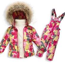 Новый 2016 Зимой Дети одежда наборы Мальчики Девочки Теплый лыжный костюм Ребенок Пуховики Пальто + Комбинезон 2 шт. высококачественный DD003