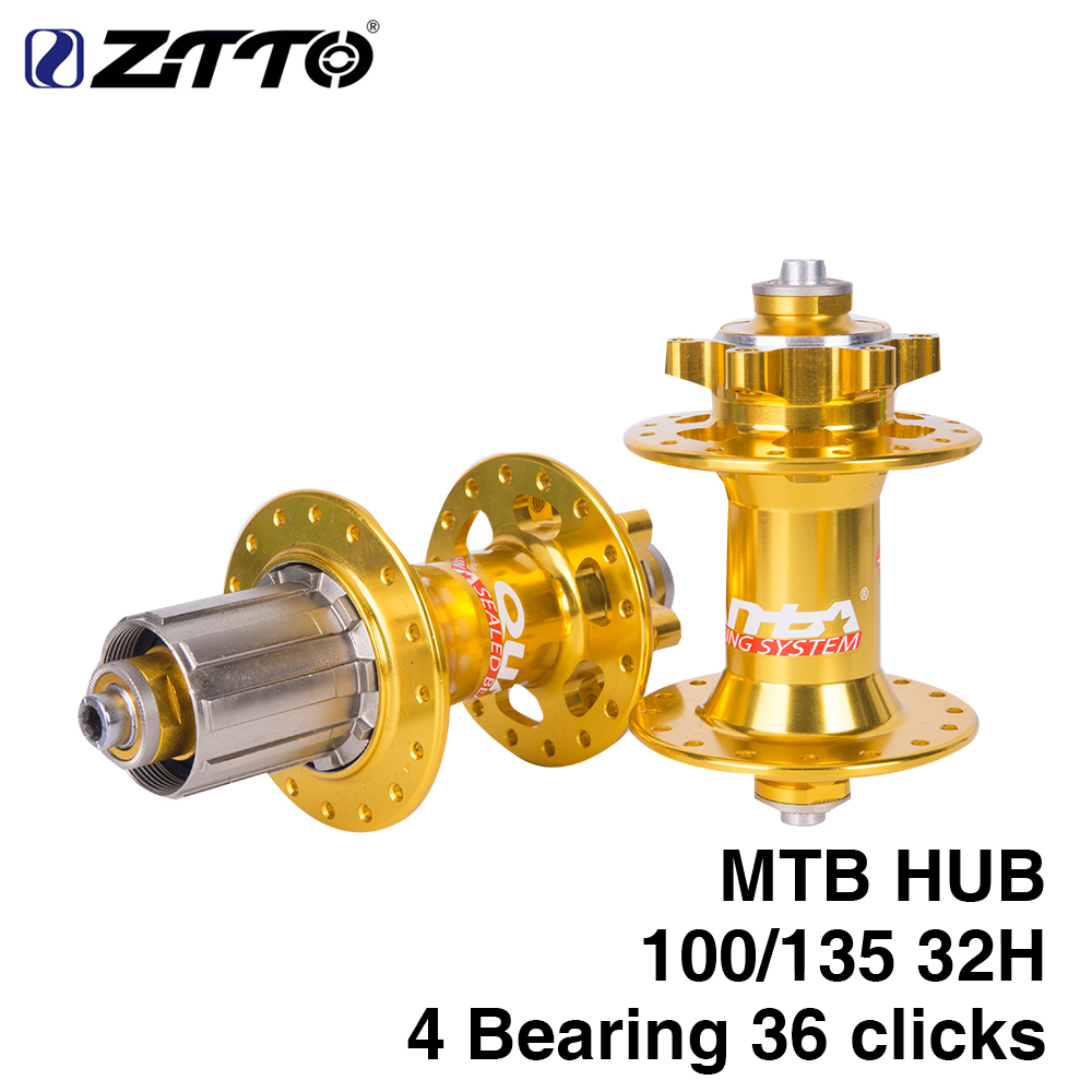 ZTTO Bicycle Hub Gold Golden Disc Brake MTB Mountain Bearing Hub 32H Hole 36 clicks quick release QR 100 135 with QR chosen aluminum mountain bike hubs set wheel hub front and rear skewers quick releas disc brake hub 4 bearings 90 ring 32 hole