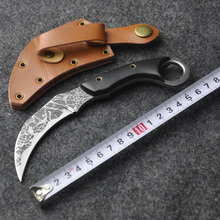Karambit Knife Combat Knife tactical survival pocket Neck knife hunting camping Fighting Claw with Leather Sheath