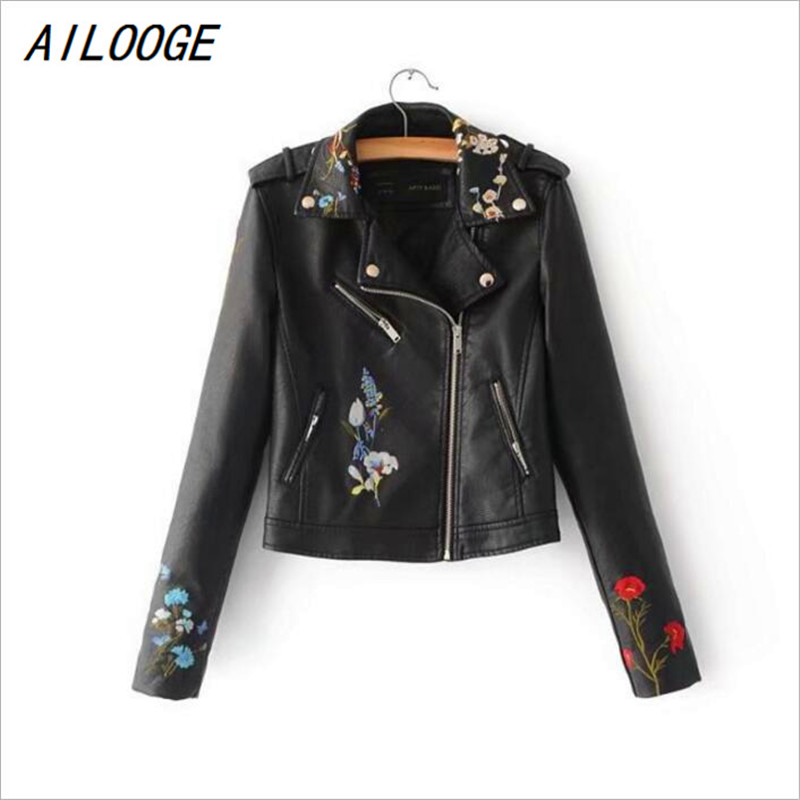 AILOOGE 2018 New Autumn Women Embroidery   Leather   Jacket Faux PU Leahter Punk Jackets Slim Biker Coat Floral Print Slim Coat