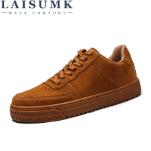 LAISUMK Fashion Breathable Men Casual Shoes New Autumn Mens Flats Lace Up Male Leather Oxfords Males Solid Color Leather Shoes male casual shoes high quality lace up oxfords men flats spring autumn breathable driving shoes aa30065