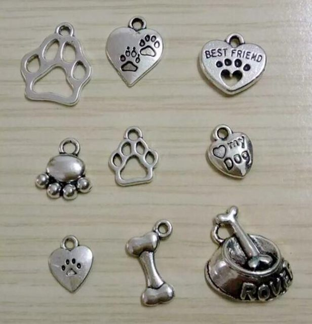 Wholesale 50pcs antique silver plated mixed dog paw prints dog wholesale 50pcs antique silver plated mixed dog paw prints dog bowl bone charms pendant for bracelets mozeypictures Gallery