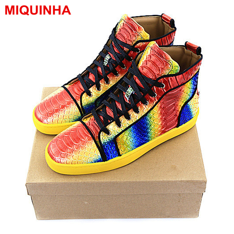 MIQUINHA Brand Design Men Casual Shoes High Top Rainbow Color Lace Up Shoes Round Toe Fashion Star Street Runway Shoes Flats pink lace up design long sleeves top and pleated design skirt two piece outfits