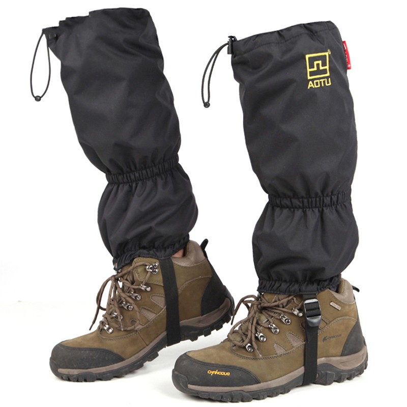 1pair 210D black color oxford cloth snow legging waterproof hiking gaiters for mountain skiing