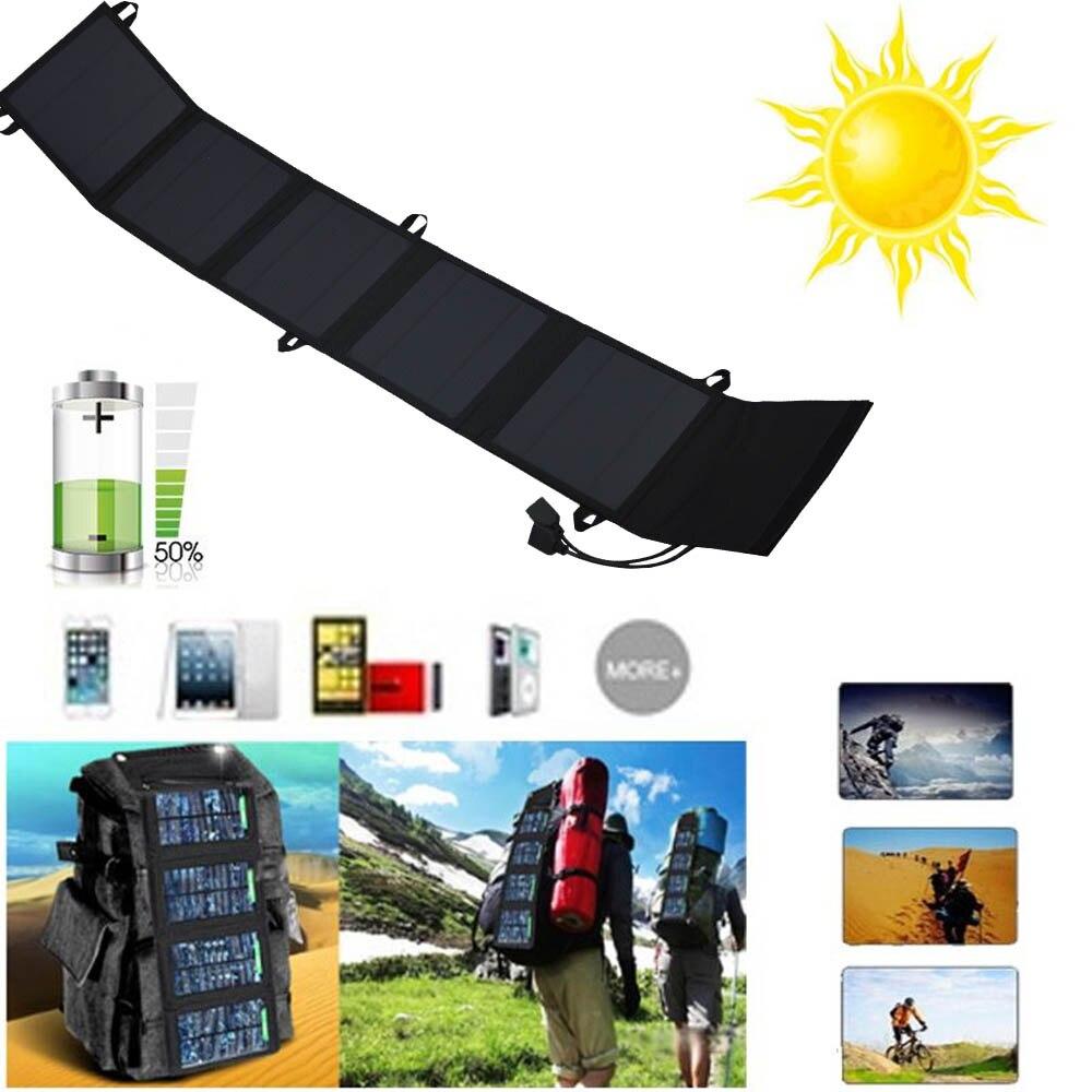 18 W Double USB batterie Portable solaire panneau solaire Portable chargeur batterie externe universel téléphone tablette chargeur pour iPhone Xiaomi