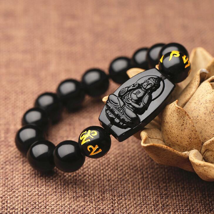 10 MM Hochwertigen Natürlichen Schwarzen Obsidian Geschnitzt Buddha Glücklich Amulett Runde Perlen Armband Für Frauen Männer Armband Jad e schmuck