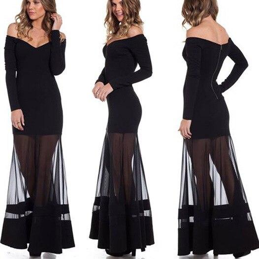 Damen Kleider Black White Long Dress Gaun Pesta High End Hollow Out
