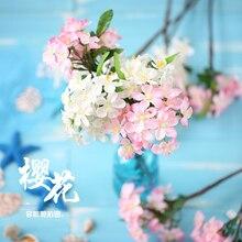 סימולציה פריחת דובדבן לבן ורוד מזויף פרח עבור תמונה תוספות צילום רקע אבזרי