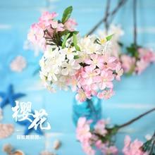محاكاة الكرز زهر الأبيض الوردي ورد صناعي للصور INS التصوير خلفية الدعائم