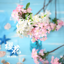 Simulation Cherry Blossom White Pink Fake Flower for Photo INS Photography Background Props