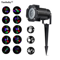 Tanbaby Outdoor 10 Type Moving Pattern Snowflakes Laser Projector Stage Light Garden Landscape Holiday Christmas Party