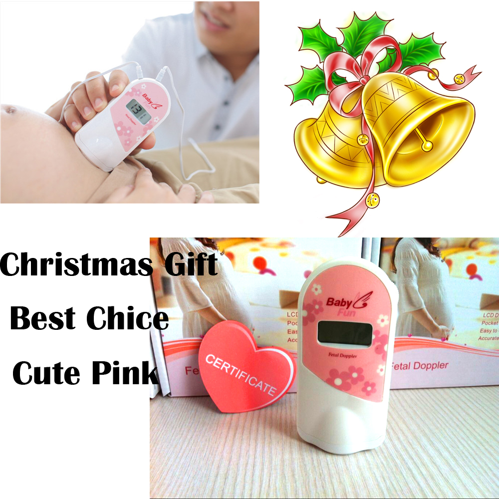 CE ISO 2.5mhz LCD Screen! Fetal doppler Cute Pink Prenatal monitor earphone+Recording cable+Gel