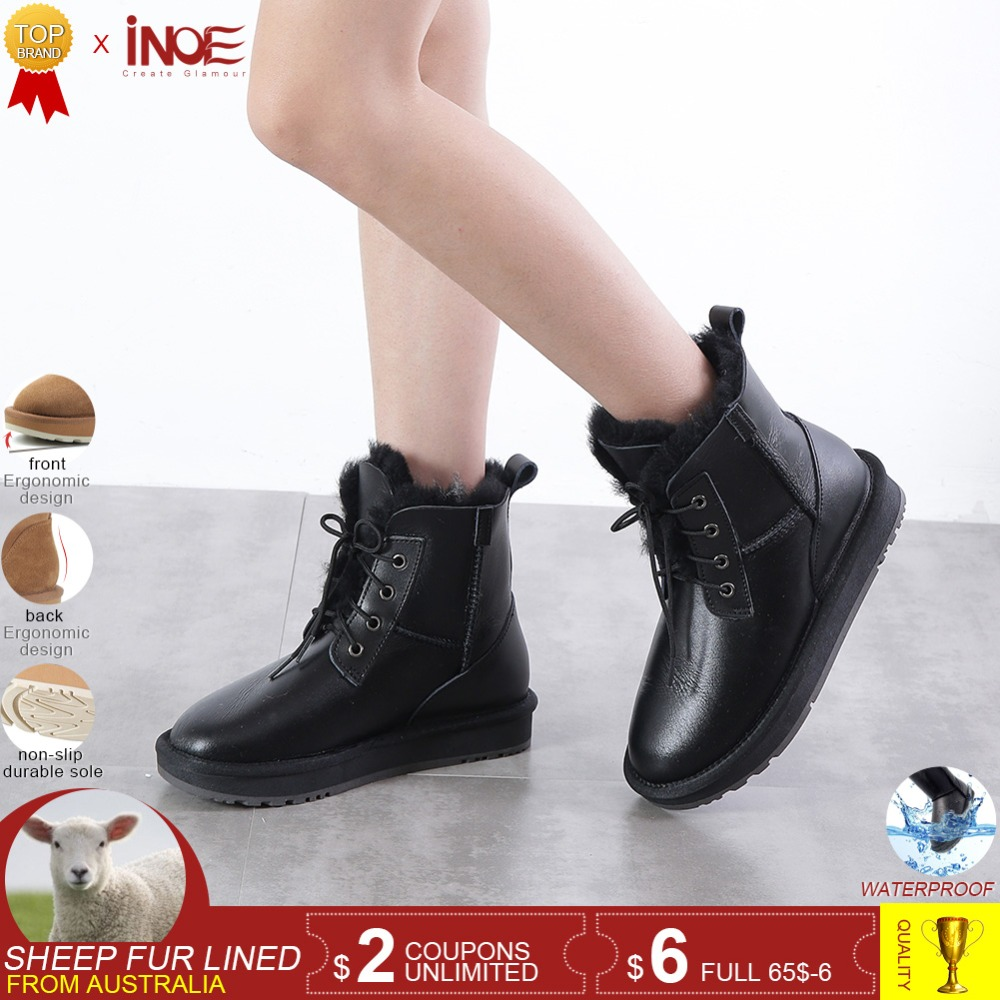INOE real sheepskin leather wool fur lined women ankle winter snow boots for women casual winter shoes waterproof black 34-44INOE real sheepskin leather wool fur lined women ankle winter snow boots for women casual winter shoes waterproof black 34-44