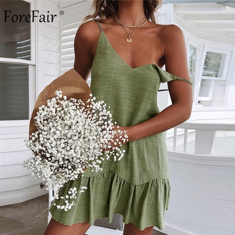 Forefair Mini Summer Dress Strap Off Shoulder Yellow White Ruffle Plus Size Loose Casual Linen Sundress Sexy Beach Dress Women