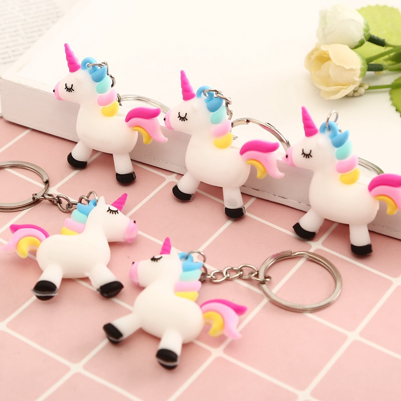 Cartoon Colorful Unicorns Key Chain Doll Key Ring Gift For Women Girls Bag Pendant Figure Charms Key Chains Jewelry Porte Clef
