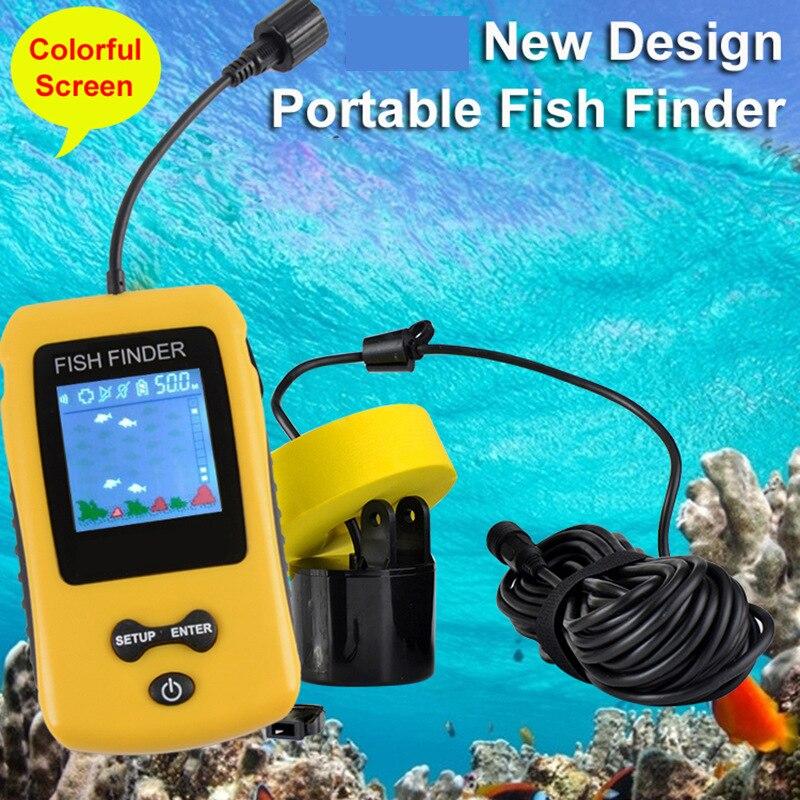 Sonar de recherche de poisson chanceux pour la pêche Sonar écho sondeur capteur LCD 100 M sondeur de profondeur pêche sondeur détecteur menu russe C5