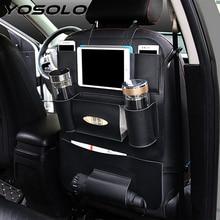 YOSOLO Car Seat Back Storage Bag Backseat Pockets Organizer Box Drink Magazine Tissue Phone Holder Stowing Tidying Accessories
