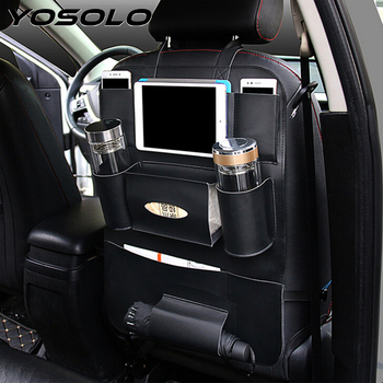 YOSOLO Car Seat Back Storage Bag Backseat Pockets Organizer Box Drink Magazine Tissue Phone Holder Stowing Tidying Accessories