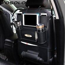 YOSOLO заднее сиденье автомобиля сумка для хранения заднее сиденье карманы Органайзер коробка напиток журнал ткань держатель телефона средства ухода для автомобиля аксессуары