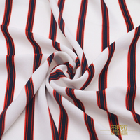 2018 Real Silk Fabric Imported High grade White Base Red Stripes, Netted Chiffon Fabric, Fashion Hemp Shirt, Dress, Cloth, Etc.