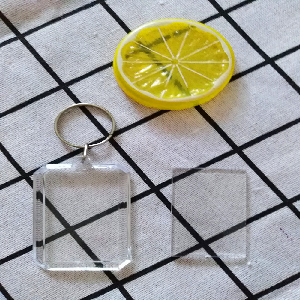 Free shipping 3pcs/lot Octagon Transparent Blank Insert Photo Picture Frame Key Ring Split keychain