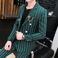 2019 New Arrival Casual Suits Mens FASHION Striped Suits Slim Fit Tuxedos Green Suit for Wedding Costme Homme Terno Black,Green