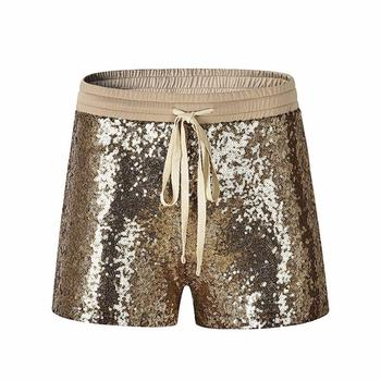 Fashion Pants Women 2018 Casual Fashion Sequins Short Women's Mid Waist Sexy Pocket Hot Pant Gold Jan25G1J.30 1