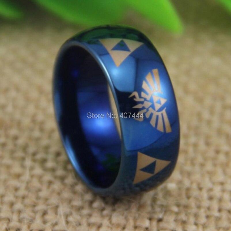 Livraison Gratuite YGK BIJOUX Vente Chaude 8mm Comfort Fit Légende de Zelda Le Nouveau Bleu Dôme Hommes Tungsten Boucle De Mariage anneau