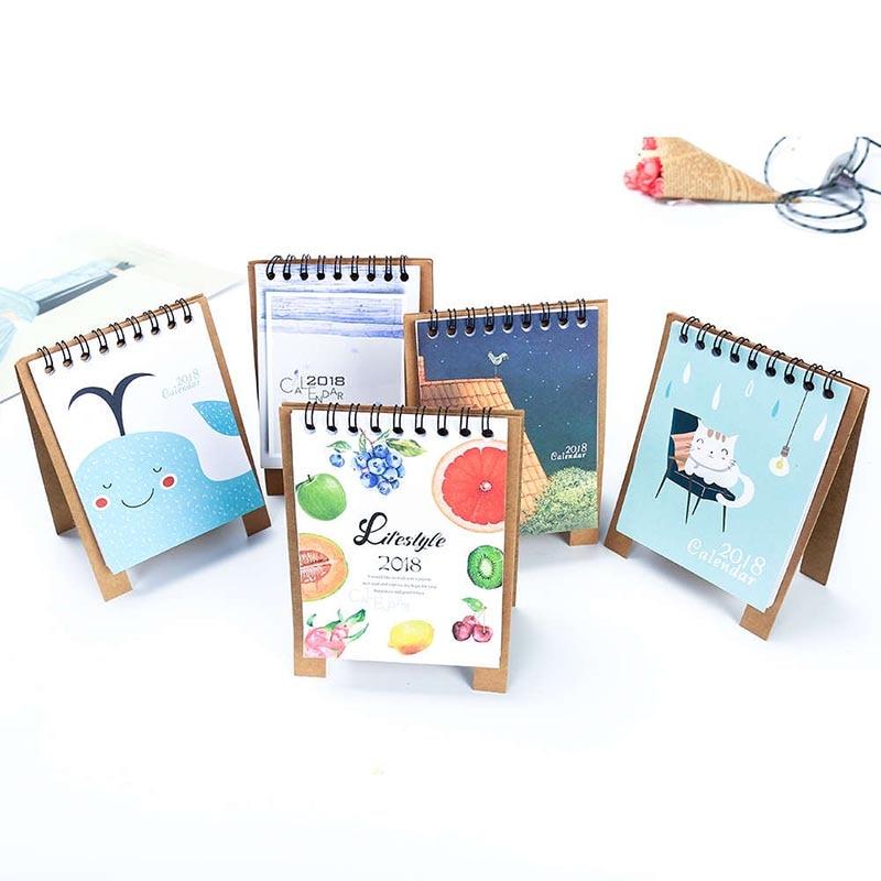 Klug 2018 Jahr Neue Kawaii Cartoon Kalender Kreative Schreibtisch Stehenden Papier Multifunktions Organizer Zeitplan Planer Notebook Kalender, Planer Und Karten