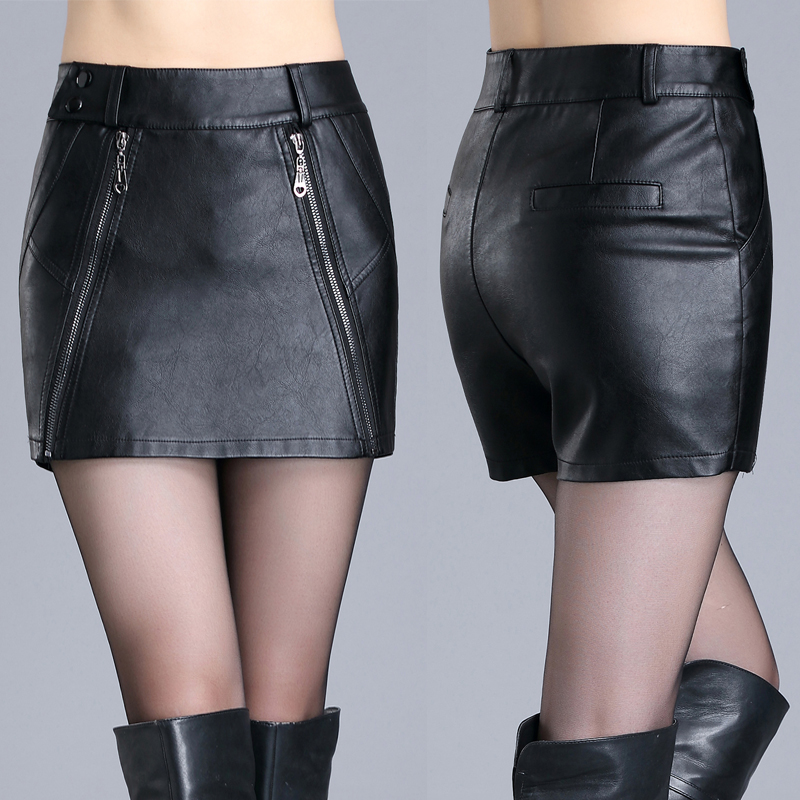 2017 New Slim Skirt Korean Slim Size Casual Leather Leather Handbags Leather   Shorts   Female Winter Hip Cross