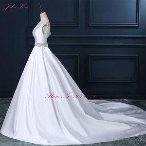 Image 5 - Julia Kui High end Custom Elegant Satin Wedding Dresses  Scoop Neckline With Beading Sash Ball Gowns Robe de Mariage Plus Size