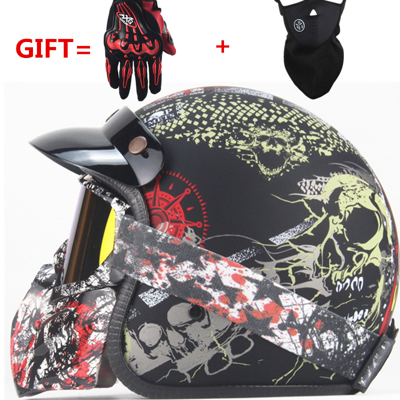 3/4   Helmets Motorcycle Retro open face vintage Racer Cascos Moto  motorcycle helmet  with goggle mask3/4   Helmets Motorcycle Retro open face vintage Racer Cascos Moto  motorcycle helmet  with goggle mask