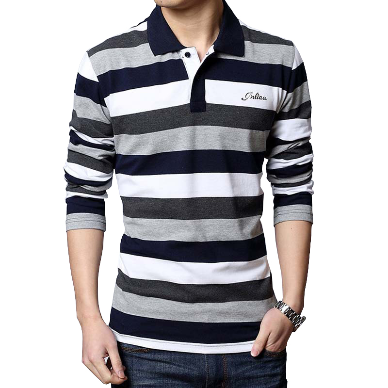 Plus size Men Polos Shirt 3XL 4XL 5XL Long Sleeved Striped Polo Shirt Men Fitness Casual Cotton Man Polo Loose Brand Clothing