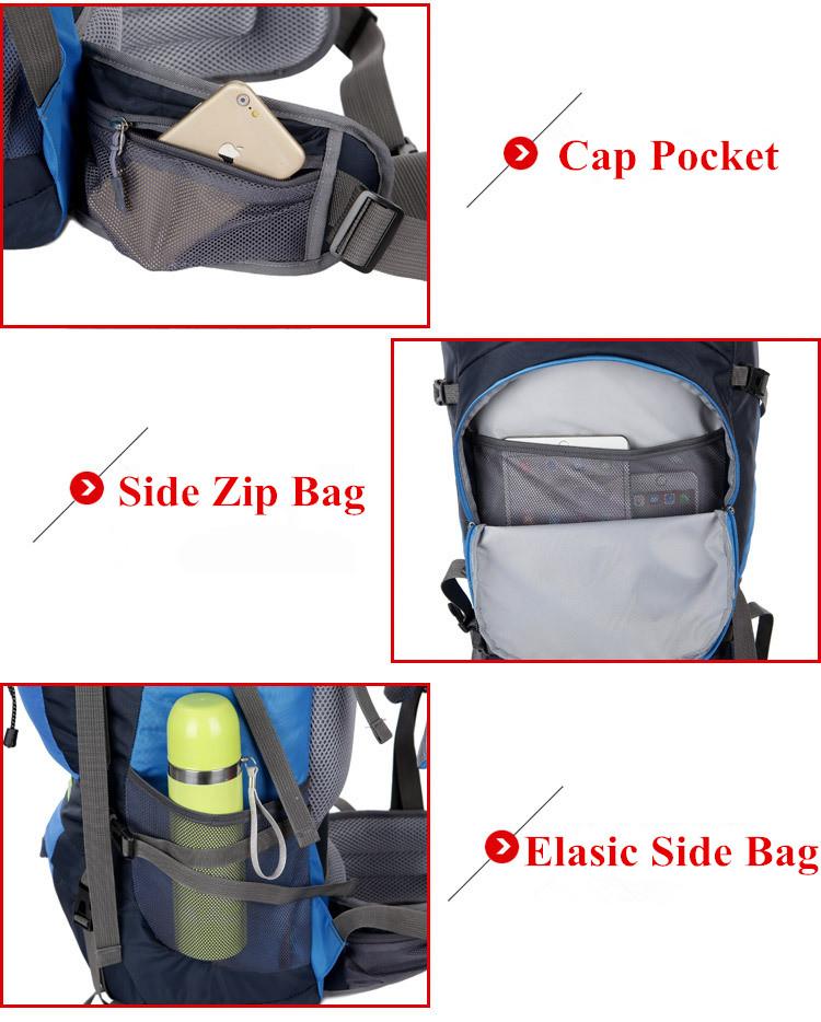 Waterproof 65L Tactical Unisex Backpack Side Zip Bag Elastic Side Bag