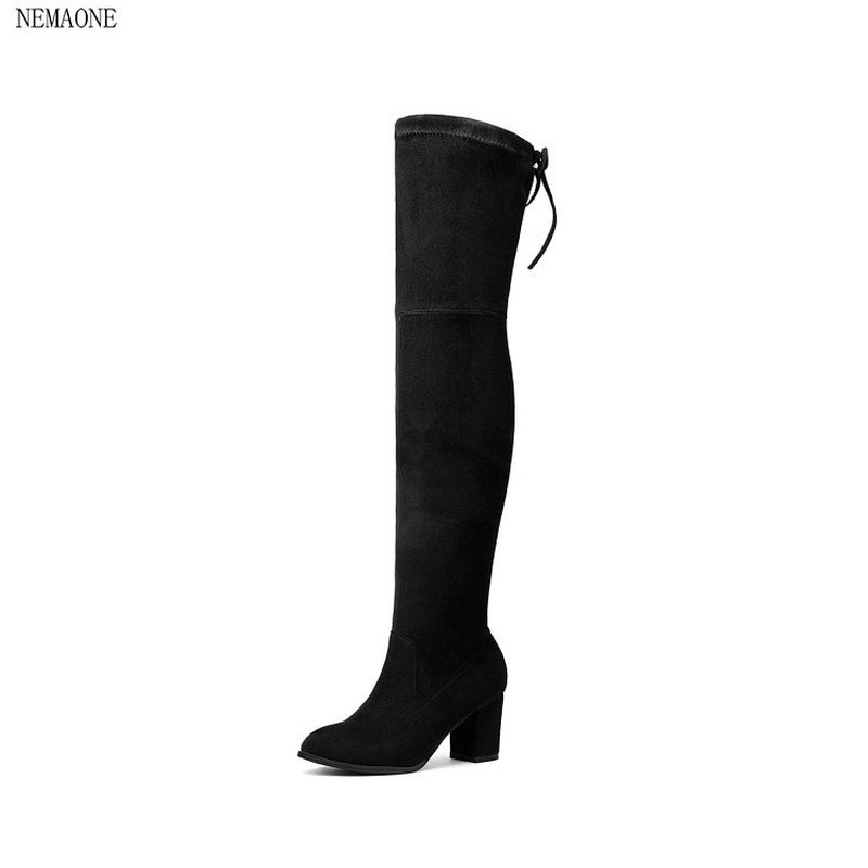 NEMAONE 2018 New leather Women Stretch Slim Thigh High Boots Sexy Fashion Over the Knee Boots High Heels Woman Shoes