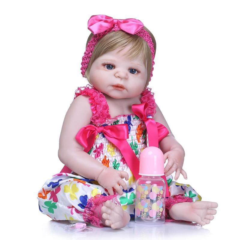 22inch Lifelike Neborn Baby Doll Soft Silicone Imitation Reborn Baby Dolls Kids DIY Stuffed Toy Sleep Accompany Toys Gift