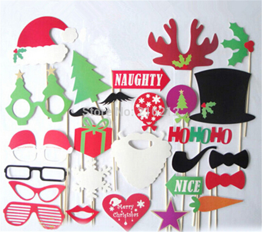 27 pcs/lot DIY Christmas Photo Booth Props Hat Mustache On A Stick Birthday Party Fun Favor