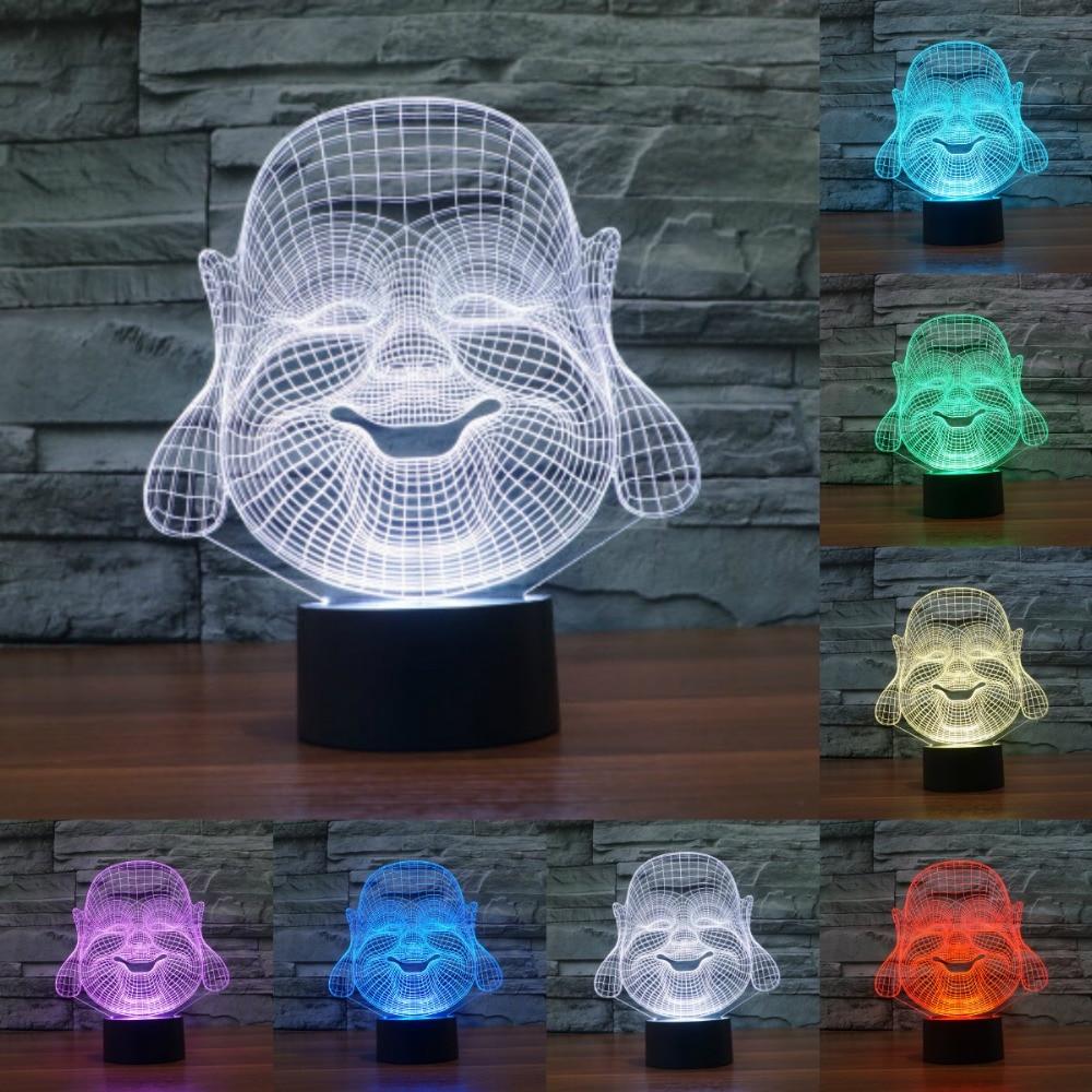 Будда Майтрея 3D Иллюзия светодиодный ночник 7 цветов USB Красочные трехмерные сенсорный Swich настольная лампа для детей IY803513