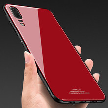 MAKAVO For Huawei P20 Pro Case Luxury Tempered Glass Back Phone Cover Hybrid Shockproof Sleeve Hard Housing for Huawei P20 Lite(China)