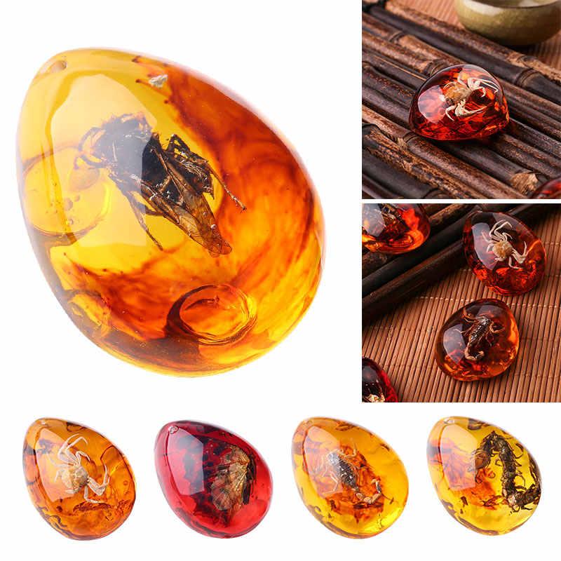1 PC Fashion Alami Serangga Amber Batu Permata Ornamen Orisinalitas Kalajengking Butterfly Lebah Kepiting Dekorasi Kerajinan Diy Hadiah
