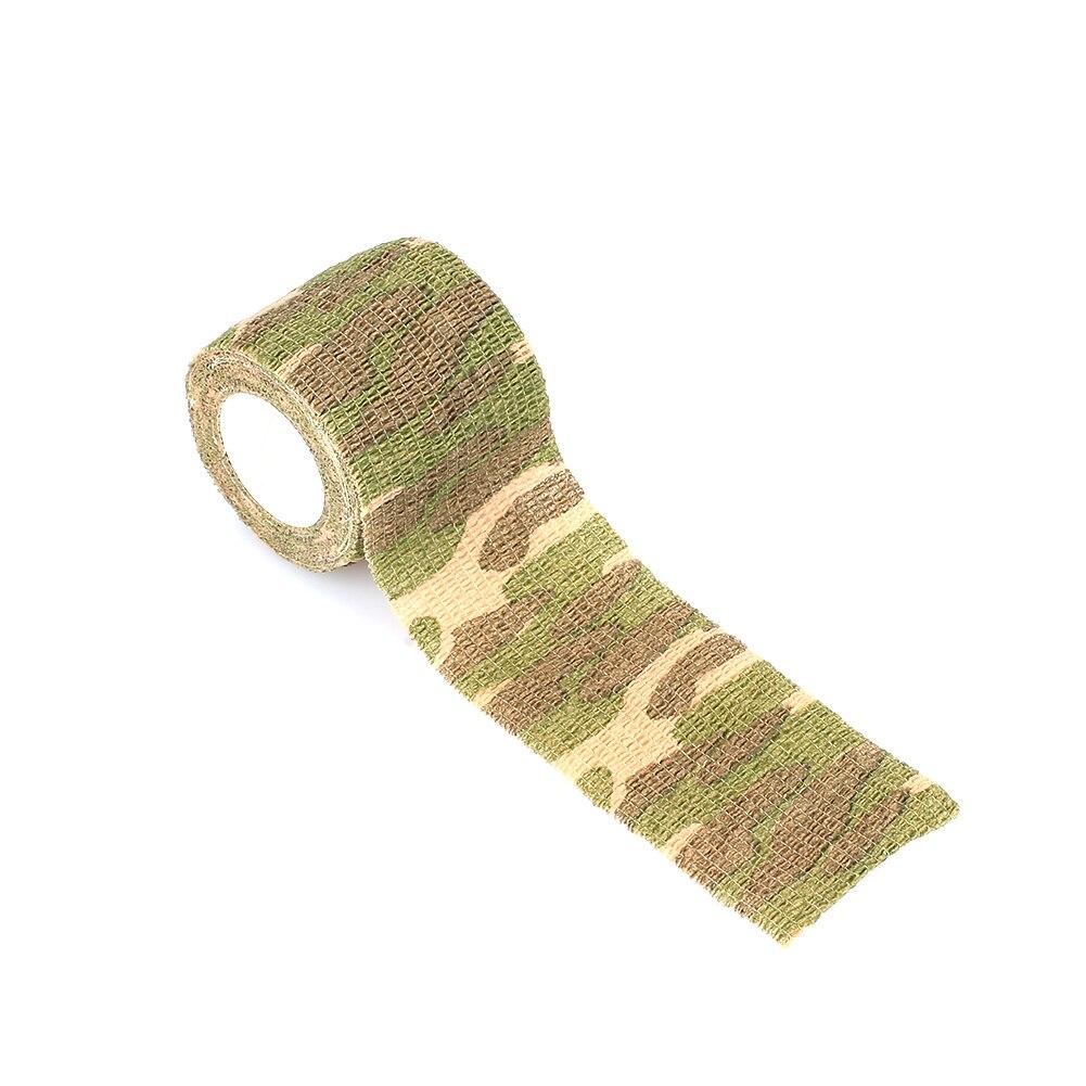 Клейкая ткань для охоты на природе самоклеящаяся Нетканая 4,5 м фонарик обертывание Камуфляжная Лента винтовка лента тянущаяся повязка военная лента - Цвет: Light green camoufla