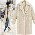 2016 Inverno Novo Casaco De Lã Mistura Senhoras Cardigan Longo-sleeved Lapela Imitação Cashmere Casaco AXD2031