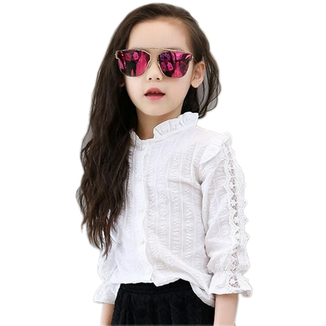 92ae7fa1d Toddler Teenager Baby Girls White Blouse Fall Lace Bow Girls Tops Kids  School Plaid Shirt Long Sleeve Children Clothing JW4081