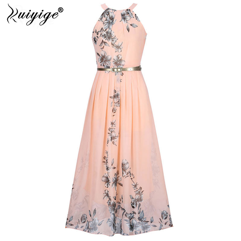 2018 Summer Women Dress Chiffon Floral Print Halter Tunic Sleeveless Pleated Long Maxi Party Boho Dresses With Belt Vestidos