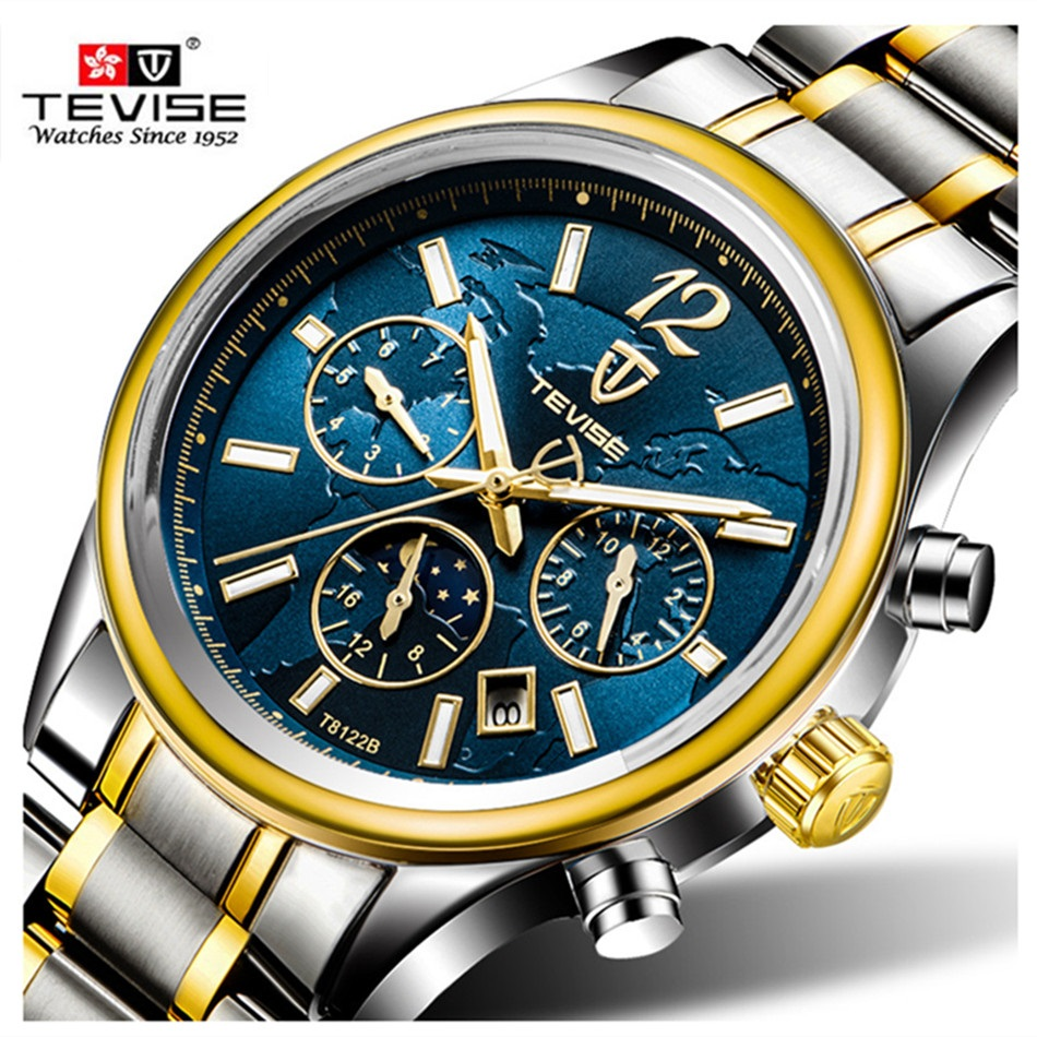 Brand TEVISE Men's Watches Six-pin Moon Phases Automatic Mechanical Watch Men Stainless Steel Wristwatches Calendar Mens Relojes tevise original watch automatico stainless steel bracelet automatic self wind watches mechanical auto date wristwatches 8122s