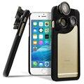 Lente ojo de pez para iPhone 6 plus 6 4-en-1 Gran Angular Macro Teleobjetivo Lente de La Cámara de ojo de pez para Apple iPhone6 con Una Función de Caso