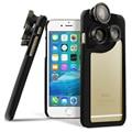 Lente olho de peixe para o iphone 6 plus 6 4-em-1 Macro Wide Angle olho de peixe Telefoto Lente Da Câmera Caso para Caso Da Apple iPhone6 com Embutido